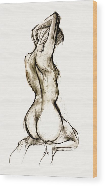 Females Wood Print featuring the drawing Seated Female Nude by Roz McQuillan