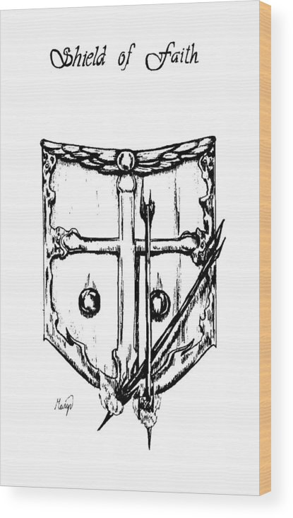 Shield Wood Print featuring the drawing Shield Of Faith by Maryn Crawford