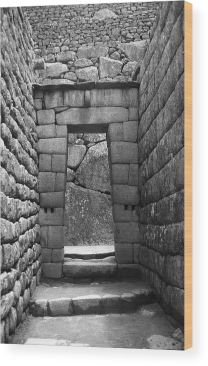 Machu Picchu Wood Print featuring the photograph Stone Door by Marcus Best