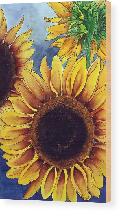 Watercolor Wood Print featuring the painting Sunny Sunflowers by Mary Gaines