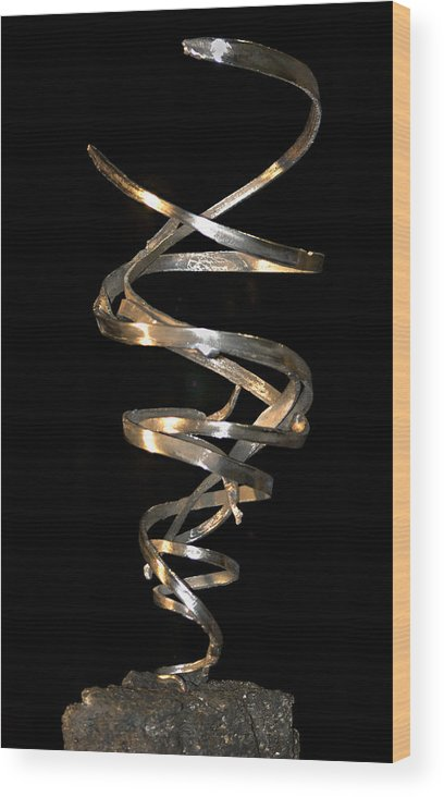 Abstract Wood Print featuring the sculpture Tempest by David Rivas