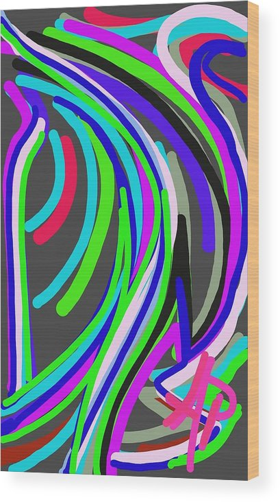 Abstract Wood Print featuring the digital art The Cascade by Alejandro Prassel