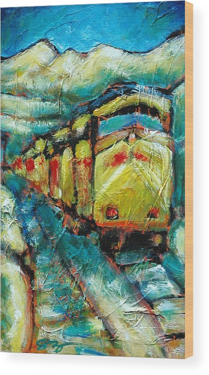Train Wood Print featuring the painting Truckee Train 2 by Sara Zimmerman