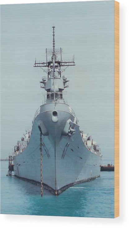 Navy Wood Print featuring the photograph Uss Missouri At Anchor by Jamie Baldwin