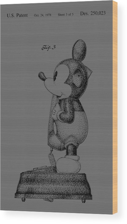 Mickey; Mouse; Novelty; Phone; Patent; 1978; Toy; Walt; Disney; Us; Inventor; Invention; Fashion; Design; Abstract; Brand; T-shirt; Hoodies; Patent Illustration; Crafts; Blueprint; Collectable; Vintage Patent; Nostalgia; Technical Illustration; Patent Drawing; Exclusive Rights; Rights; Drawing; Illustration; Presentation; Vintage; Gift; Diagram; Antique; Patentee; Men's; Men; Women; Women's; Boy; Girl; Patent Application; Home Decor; Grunge; Distress; Parchment; Old; Graphic; Chris Smith Wood Print featuring the photograph Vintage Disney Mickey Mouse Novelty Phone Patent Artwork From 1978 by Chris Smith
