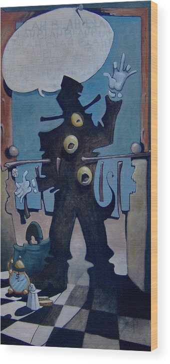 Surreal Wood Print featuring the painting Abogado by Michael Irrizary-Pagan