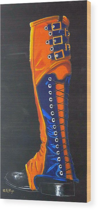 Blue Wood Print featuring the painting Blus And Gold Boot by Richard Le Page