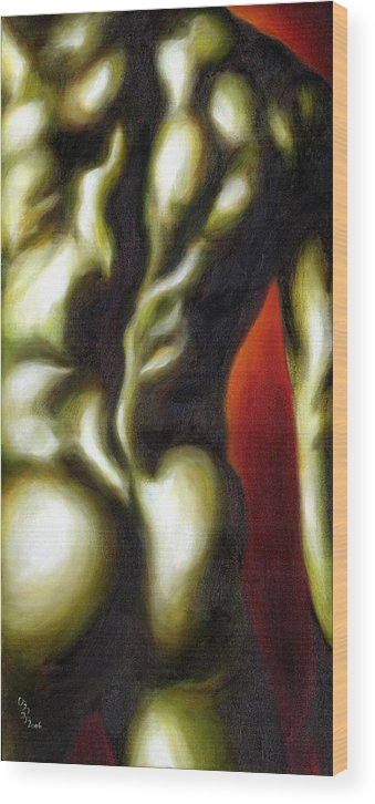 Man Nude Painting Wood Print featuring the painting Dancer Two by Hiroko Sakai