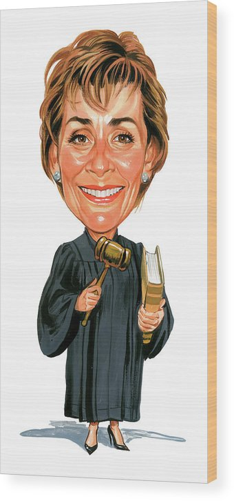 Judith Sheindlin Wood Print featuring the painting Judith Sheindlin As Judge Judy by Art