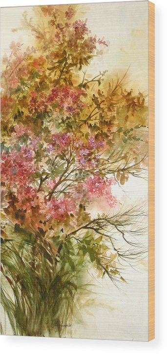Leaves;blossoms;branches;autumn;pinks;floral; Wood Print featuring the painting Autumn Colors And Twigs by Lois Mountz