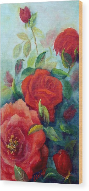 Roses Wood Print featuring the painting Beauty In Coral by Elaine Bailey