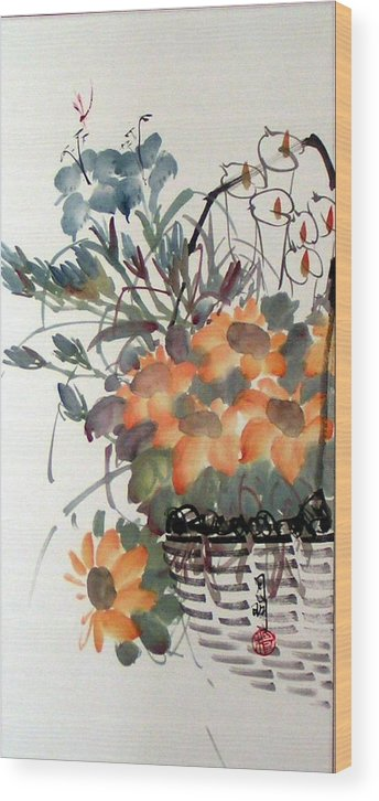 Chinese Painting Wood Print featuring the painting Blossoming by Ming Yeung