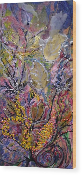 A Wood Print featuring the painting Collage In Autumn by Heather Hennick