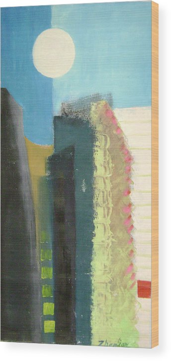 Abstract Wood Print featuring the painting Dream City No.2 by Lian Zhen