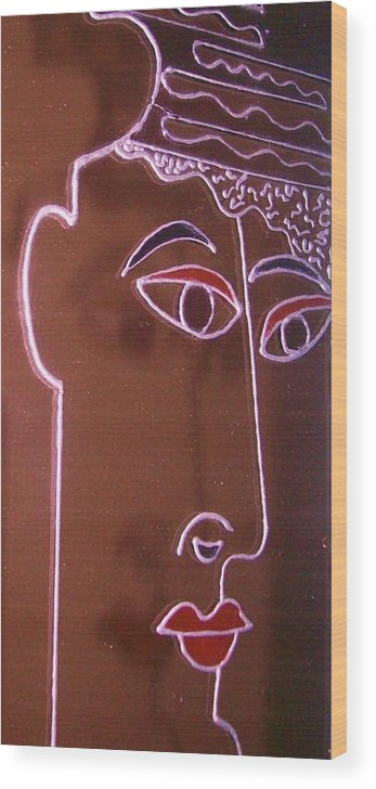 Faces Wood Print featuring the painting Faces And Alphabets by Sylvia Hanna Dahdal