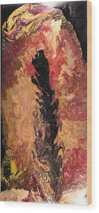 Abstract Wood Print featuring the painting Fire - Elemental Spirit by Patrick Mock