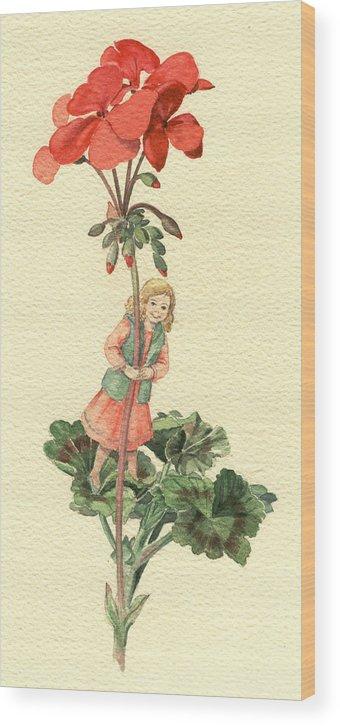 Flower Wood Print featuring the painting Geranium Girl by Maureen Carter