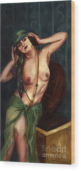 Nude Wood Print featuring the painting Gypsy by Robin DeLisle