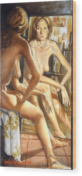 Nude Wood Print featuring the painting Isabel With Mirror by Paul Herman