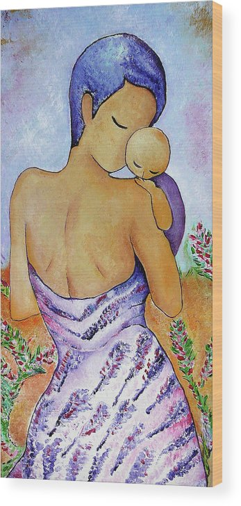 Art Wood Print featuring the painting Long Impasto Motherhood Vertical Painting by Gioia Albano