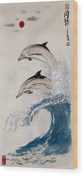 Dolphon Wood Print featuring the painting Same Rhythm by Lilian Storino