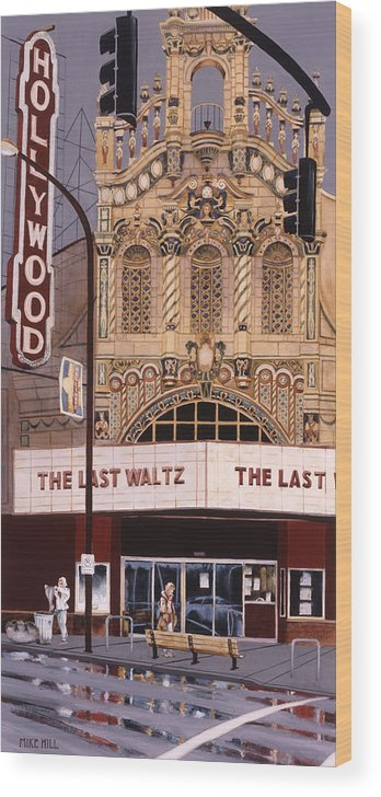 Theatre Theater Hollywood Movies Portland Oregon Deco Spanish Tile Lights Cinema Watercolor  Wood Print featuring the painting The Last Waltz by Mike Hill