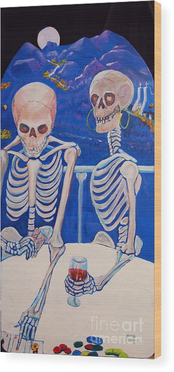 Day Of The Dead Painting Wood Print featuring the painting Your Call by George Chacon