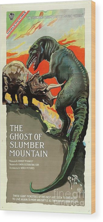 Dinosaur Wood Print featuring the painting Classic Movie Poster - The Ghost Of Slumber Mountain by Esoterica Art Agency