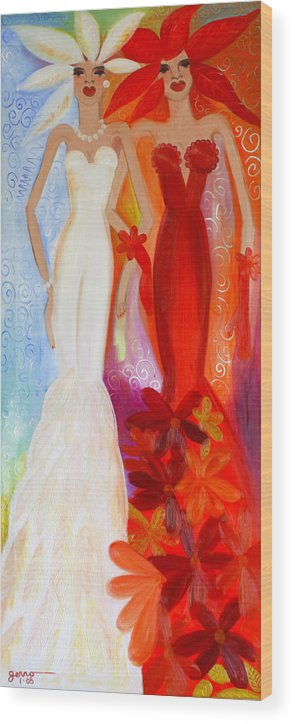 Haute Couture Artwork Wood Print featuring the painting Pearl And June by Helen Gerro