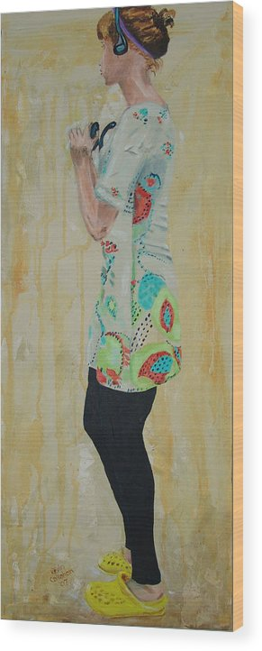 Portrait Wood Print featuring the painting Girl In The Yellow Shoes by Kevin Callahan
