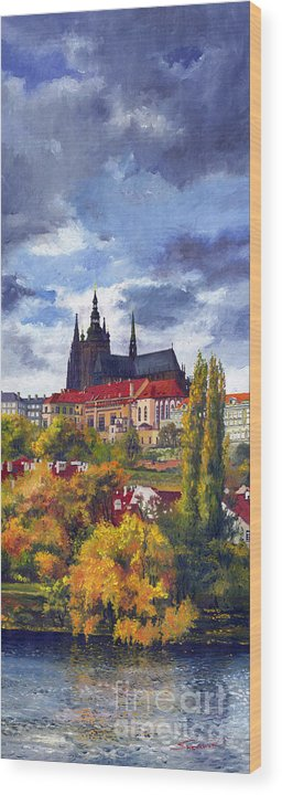 Prague Wood Print featuring the painting Prague Castle With The Vltava River by Yuriy Shevchuk