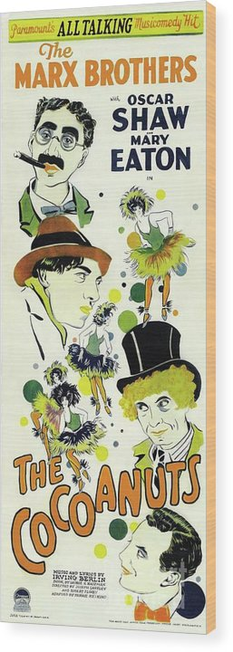 Cocoanuts Wood Print featuring the painting Classic Movie Poster - The Cocoanuts by Esoterica Art Agency
