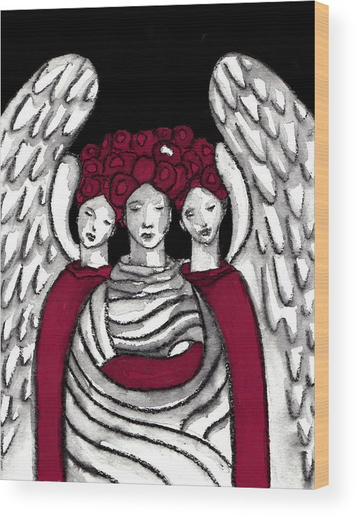 Angel Wood Print featuring the painting Keepers No 15 by Milliande Demetriou