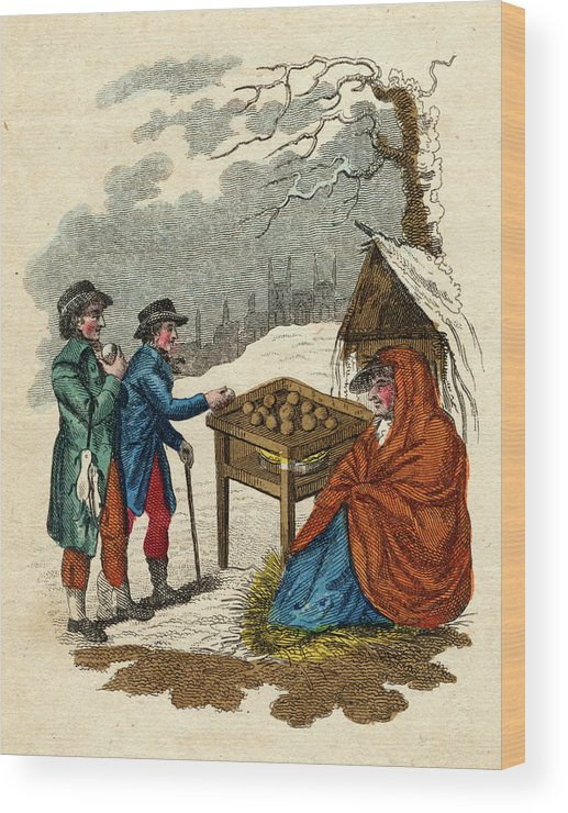 Hot Wood Print featuring the drawing Selling Hot Spiced Apples In Winter by Mary Evans Picture Library