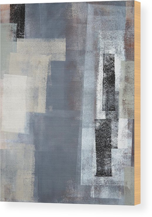 Grey Wood Print featuring the painting Blocked - Grey And Beige Abstract Art Painting by CarolLynn Tice