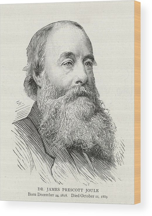 Joule Wood Print featuring the drawing James Prescott Joule (1818-1889) by Illustrated London News Ltd/Mar