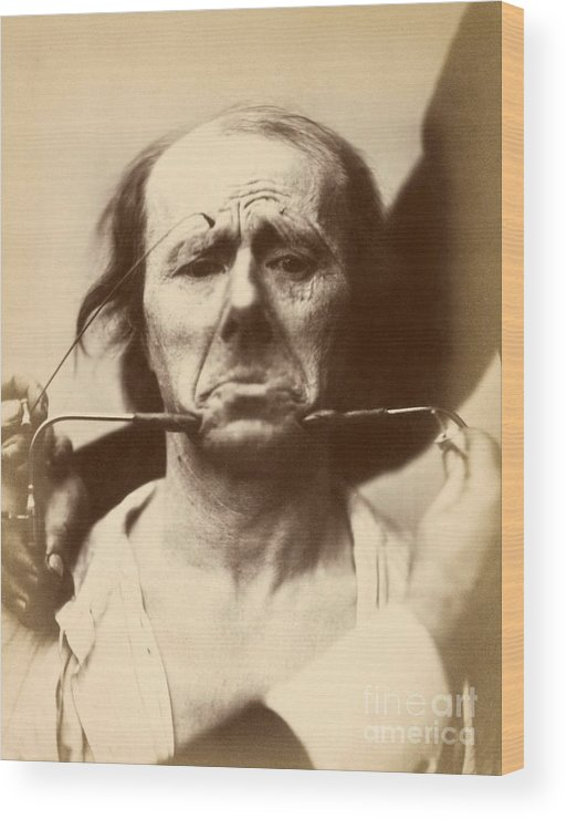 Human Wood Print featuring the photograph Duchenne's Physiognomy Studies, 1860s by Miriam And Ira D. Wallach Division Of Art, Prints And Photographs