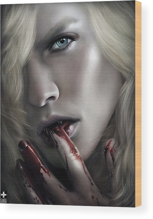 � Omri Koresh Wood Print featuring the digital art Lestat Licks Blood by Omri Koresh
