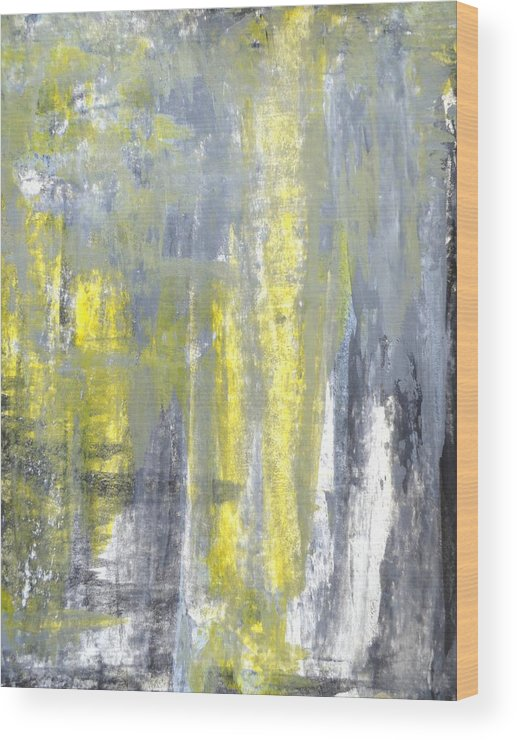 Grey Wood Print featuring the painting Placed - Grey And Yellow Abstract Art Painting by CarolLynn Tice