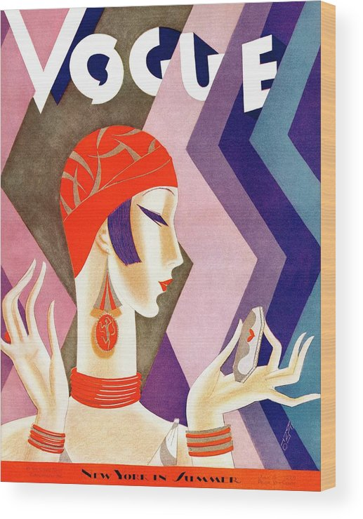 Illustration Wood Print featuring the photograph A Vintage Vogue Magazine Cover Of A Woman by Eduardo Garcia Benito