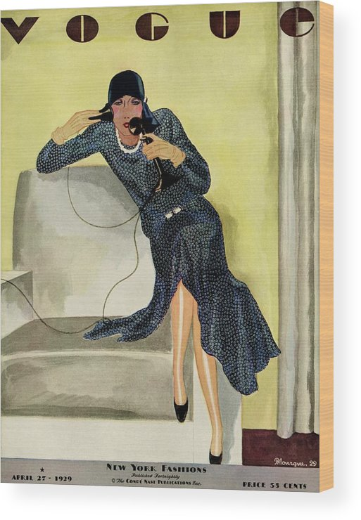 Illustration Wood Print featuring the photograph A Vintage Vogue Magazine Cover Of A Woman by Pierre Mourgue