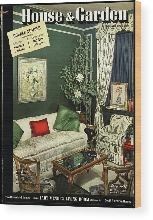 Home Accessories Wood Print featuring the photograph A House And Garden Cover Of Lady Mendl's Sitting by Urban Weis