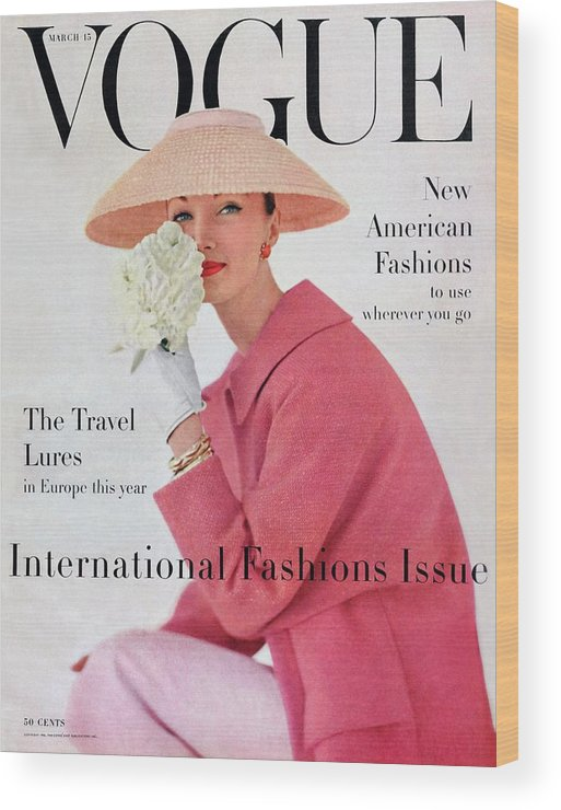 Fashion Wood Print featuring the photograph A Vogue Cover Of Evelyn Tripp Wearing Pink by Karen Radkai