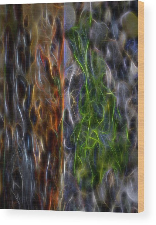 Abstract Wood Print featuring the digital art Abstract From The Sea by Cathy Anderson