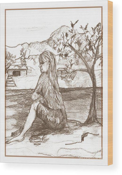 Lady Wood Print featuring the drawing Across The River by Joseph Wetzel