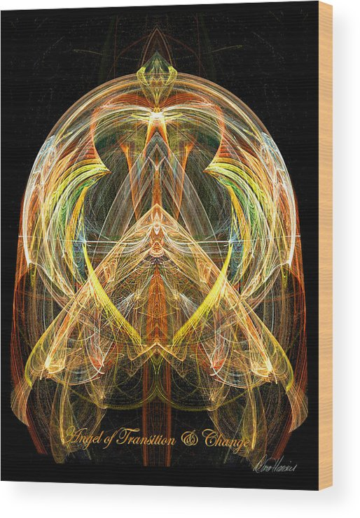 Angel Wood Print featuring the digital art Angel Of Transformation And Change by Diana Haronis