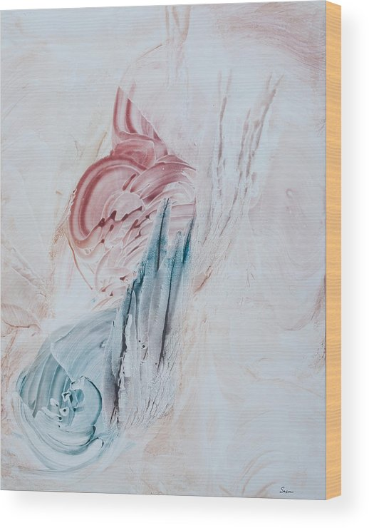 Contemporary Abstract Expressionism Wood Print featuring the painting Angel Wings And Feathers by Sharon Saxon