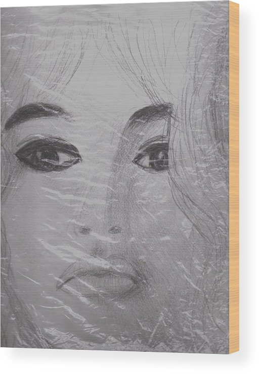 Bardot Wood Print featuring the drawing Another View Of Bardot by Anne-Elizabeth Whiteway