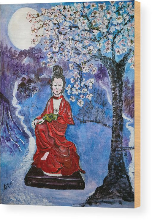 Asian Wood Print featuring the painting Asian Beauty by Arlen Avernian - Thorensen