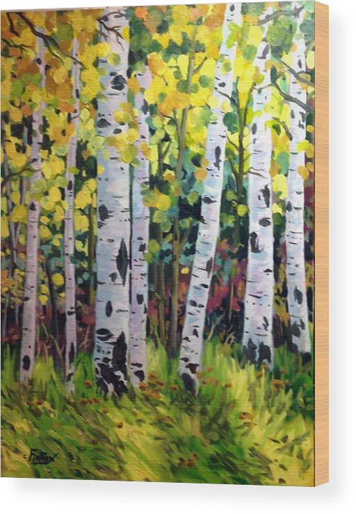 Nature Wood Print featuring the painting Aspens by W Scott Fenton